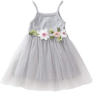 Toddler Kids Baby Girl Floral Princess Party Strap Tulle Dresses Party Clothes