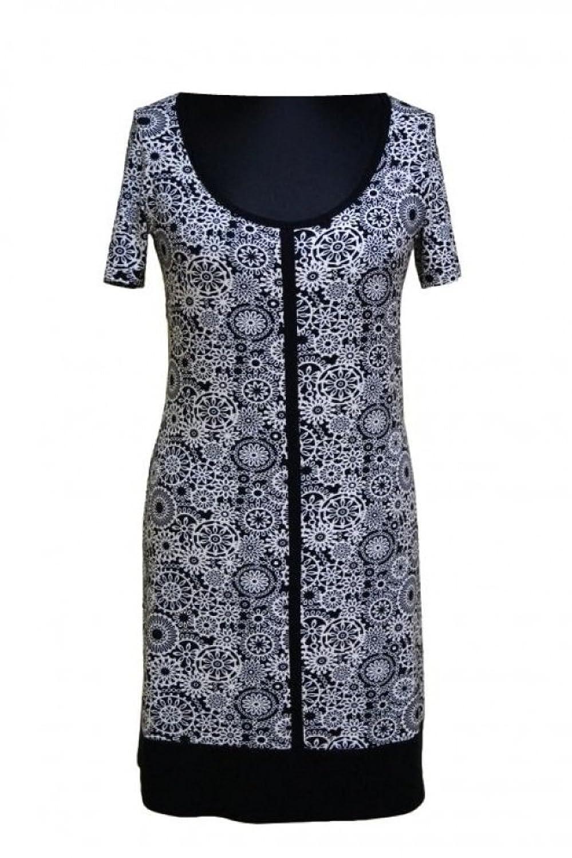 Berry® Kurzarm Kleid mit-weißem Muster Gr. 40-52