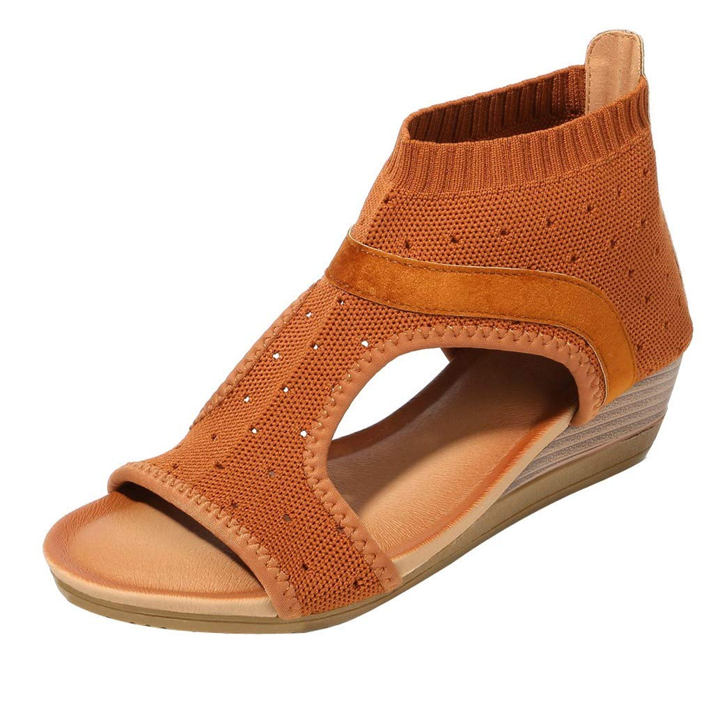 LIEJIE Womens Ethnic Style Sandals Platform Wedge Sandals Gladiator Shoes Mesh Upper Rubber Sole