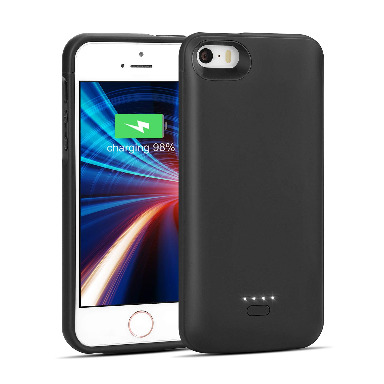 iPhone 5/5S/SE Battery Case, Wavypo 4000mAh Charging Case Ultra Slim Extended Rechargeable Charger Case External Battery Pack Portable Power Protective Case for iPhone 5, 5S, SE-Black (NOT FIT 5C) by Wavypo