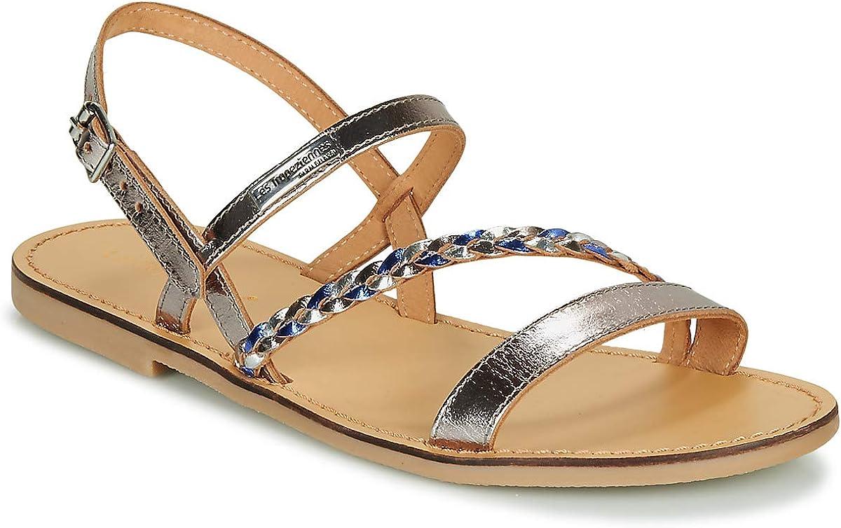 Les Tropéziennes par M. Belarbi Women's Heels Open Toe Sandals, Grey Etain Multi 263, 4 UK