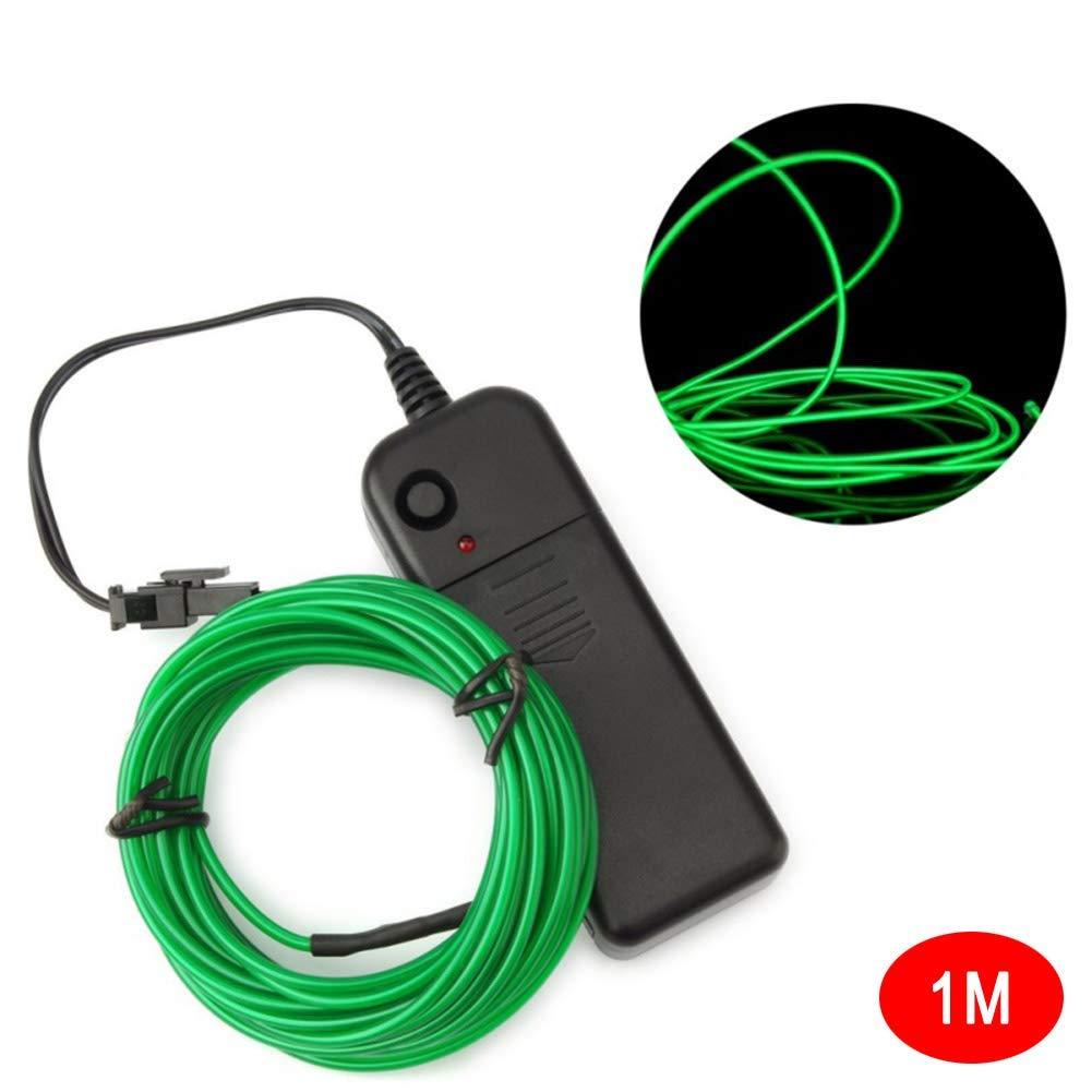 Selotrot Cable el Ne/ón Brillante Luz Funciona con Pilas Impermeable LED Tiras para Halloween Navidad 1m Amarillo