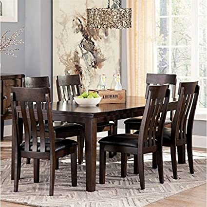 Ashley Haddigan 7 Piece Dining Set In Dark Brown