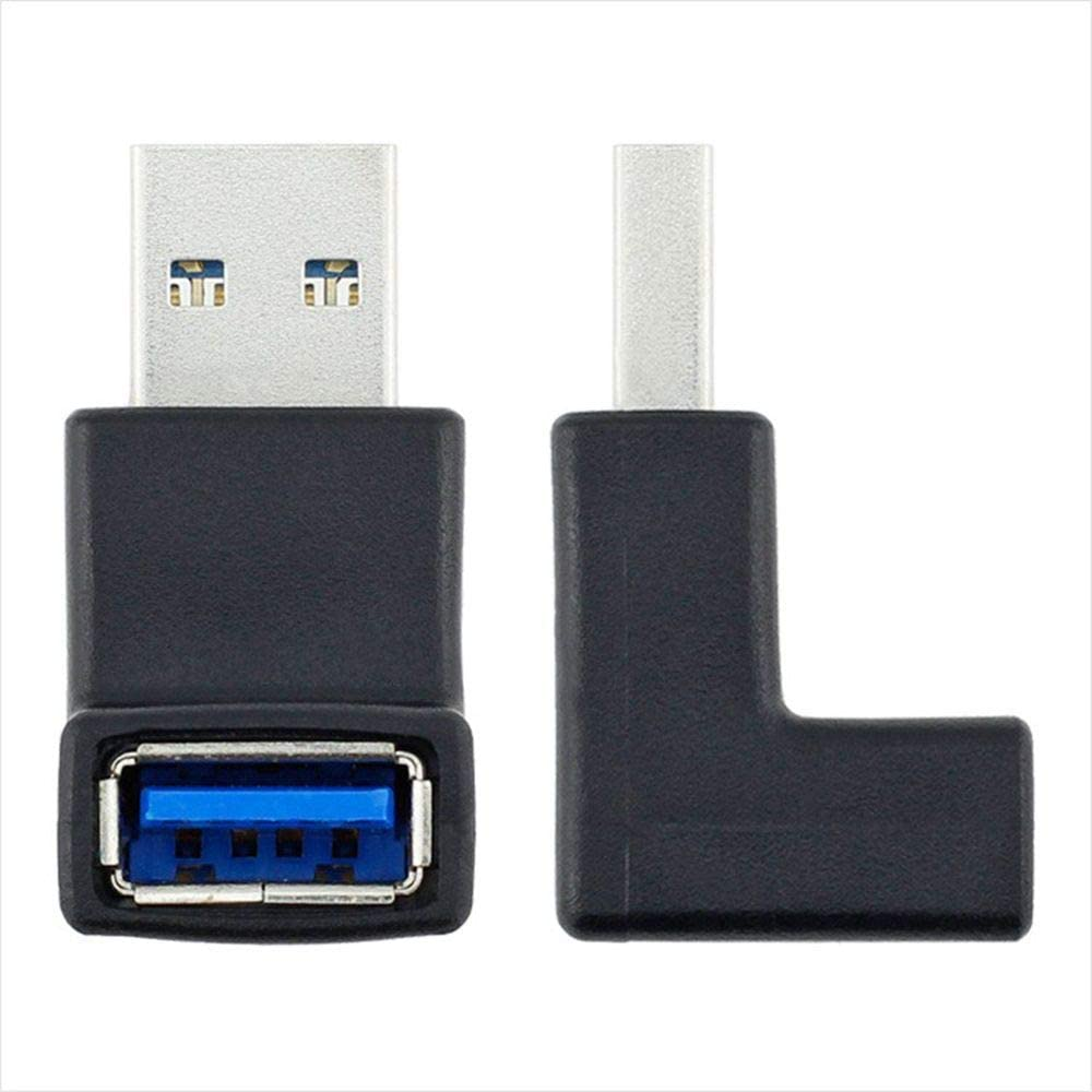 Cable Length: 33 x 27 x 17mm, Color: Up Angle Occus 2 Colors 90 Degree USB 3.0 A Male to Female Left and Right Angled Adapter USB 3.0 AM//AF Connector for Laptop//PC Computer
