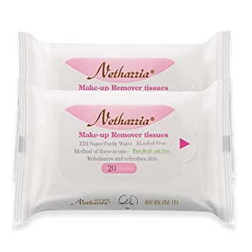 Nethazzia Cleansing Makeup Remover Facial Wipes, Waterproof Mascara Remover Refill Pack (40 sheets)