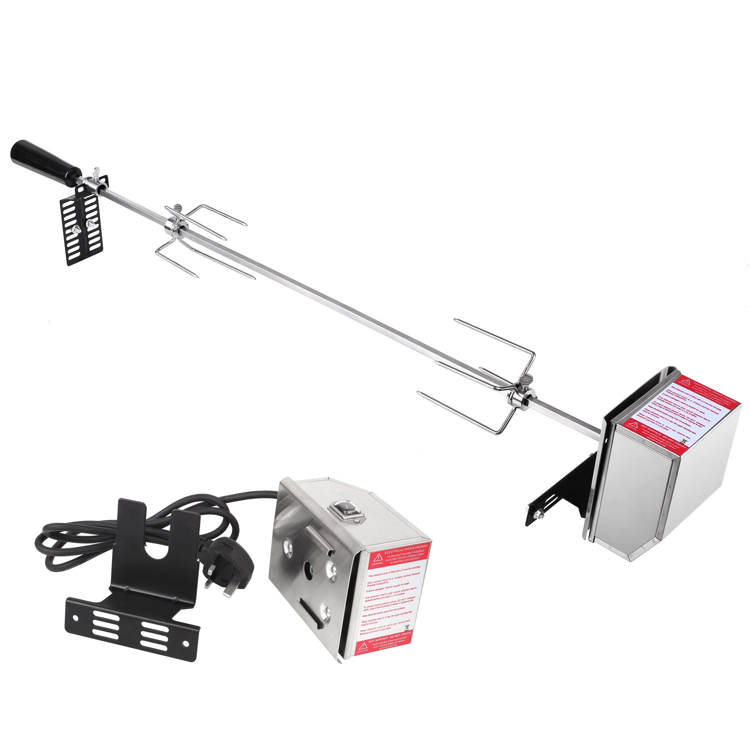MVPOWER Universal BBQ Rotisserie Kit,Stainless Steel Grill Roast Meat Rod Spit,240V Electric Operated