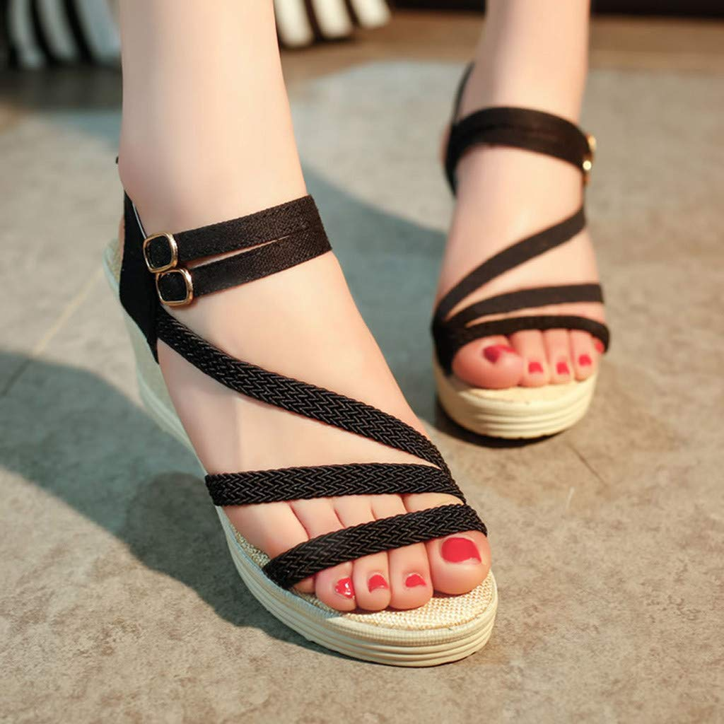 Moonker Ladies Girls Sandals,Womens Fashion Casual Roma Solid Buckle Platform High Heel Shoes Wedges Sandals
