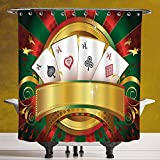 SCOCICI Durable Shower Curtain 3.0 by [Poker Tournament,Gambling Fortune Wealth Playing Cards Hand Casino Roulette Winning Print Decorative,Multicolor ] Fabric Shower Curtain