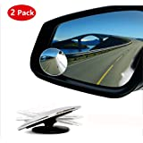 Blind Spot Mirror,HD Glass Wide Angle Slim Round Frameless Convex Rear View Mirror 360°Rotate 30°Sway Adjustable Great for Car SUV Truck Van(2 Pack)