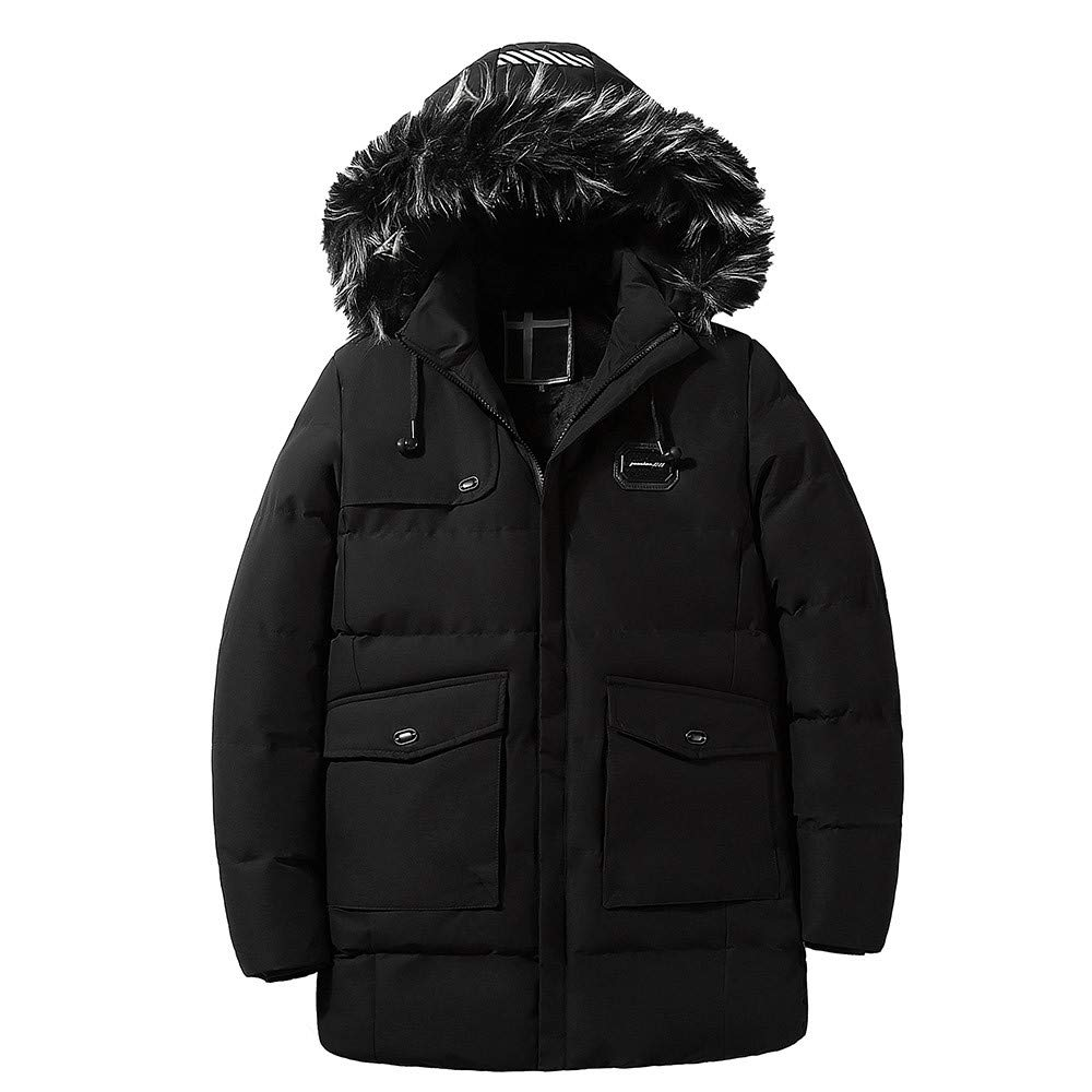 G-Real Men's Winter Removable Hooded Frost-Fighter Sherpa Lined Midi Packable Parka Jackets Black by G-real Men Outfits