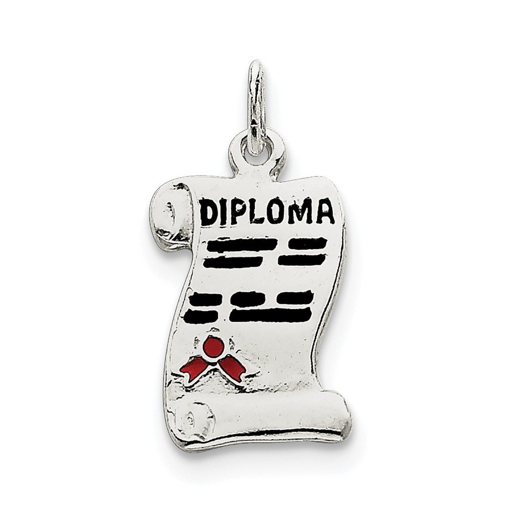 1.06 in x 0.55 in Jewel Tie Sterling Silver Diploma Charm