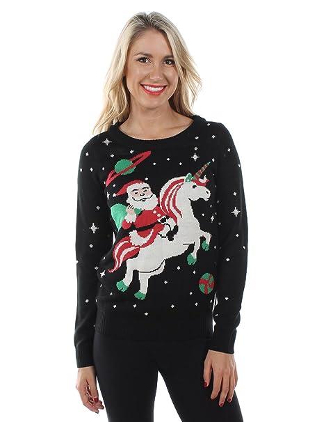 1539415da5c5f4 Tipsy Elves Women's Santa on a Unicorn Ugly Christmas Sweater Jumper  (X-Small)