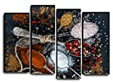 Large Set Spice and Pepper Wall Art Decor Picture Painting Poster Print on 4 Canvas Panels Pieces - Food And Kitchen Theme Wall Decoration Set - Wall Picture for Kitchen, Restaurant 32 by 44 in
