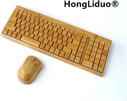 hongliduo chino viento bambú teclado inalámbrico ratón ...