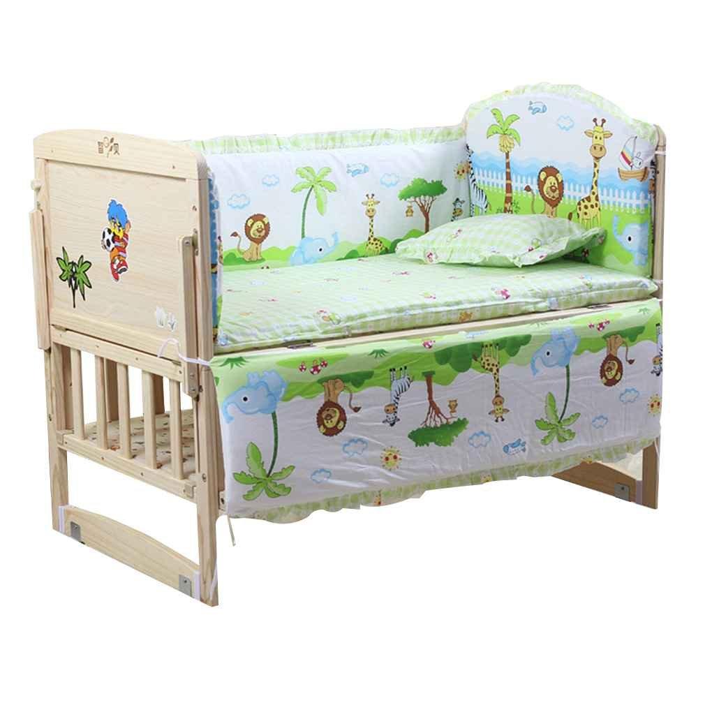 Babysbreath17 Parachoques de Cama para Bebés 5pcs Infantil del Algodón Puro del lecho del Pesebre Recién Nacido Impreso Historieta del Niño de la Cerca por 3 Ositos