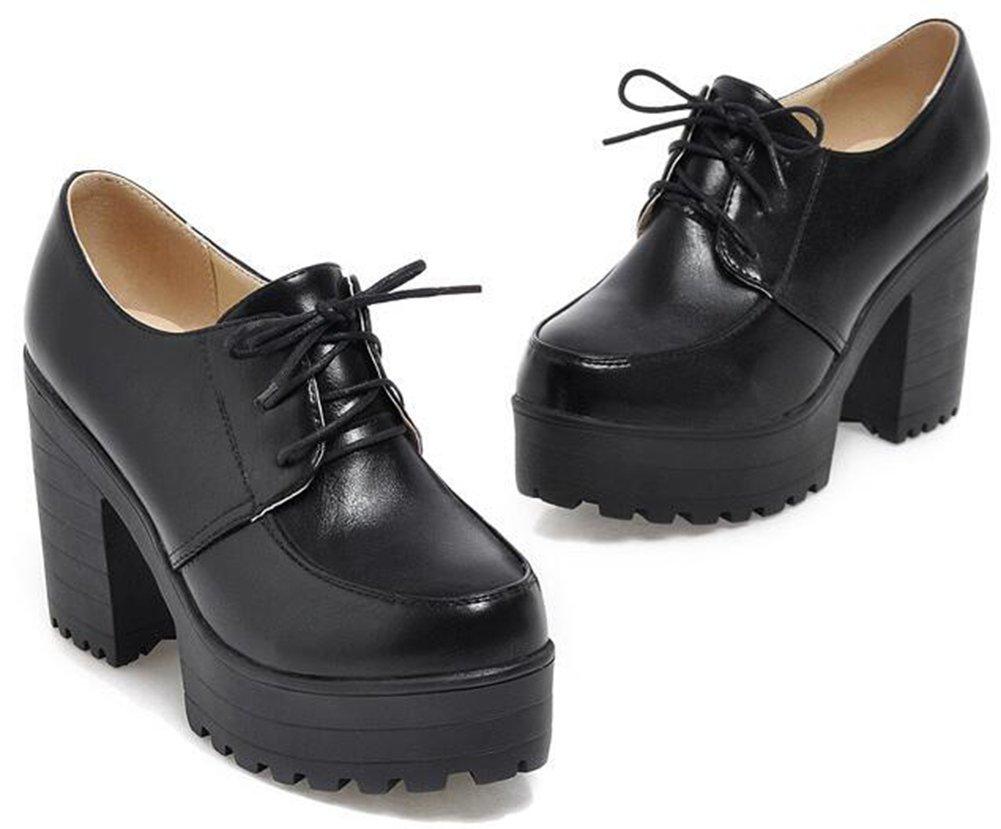 IDIFU Women's Vintage Platform High Heels Chunky Lace Up Oxfords Low Top Shoes Black 7.5 B(M) US by IDIFU (Image #2)