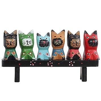 Beito Gato de Madera de la estatuilla Linda del Gato Ornamento Pintado a Mano Artesanía de Madera Mesa de Dibujos Animados Decoración 6Pcs: Amazon.es: Hogar