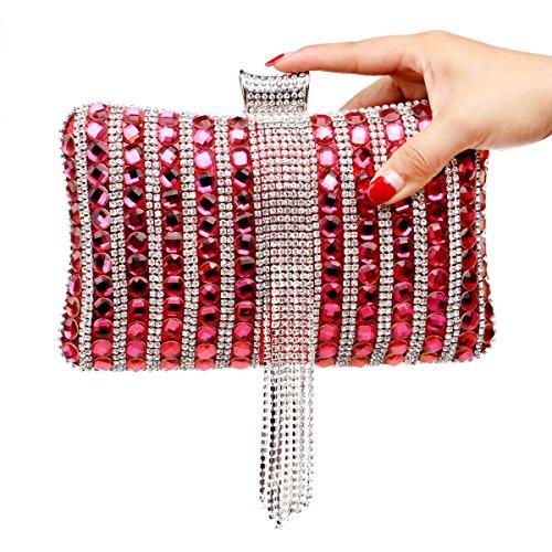 GSHGA Bolso De Tarde Del Banquete Exquisito Bolso De Diamantes Bolso De Las Mujeres,Silver Red