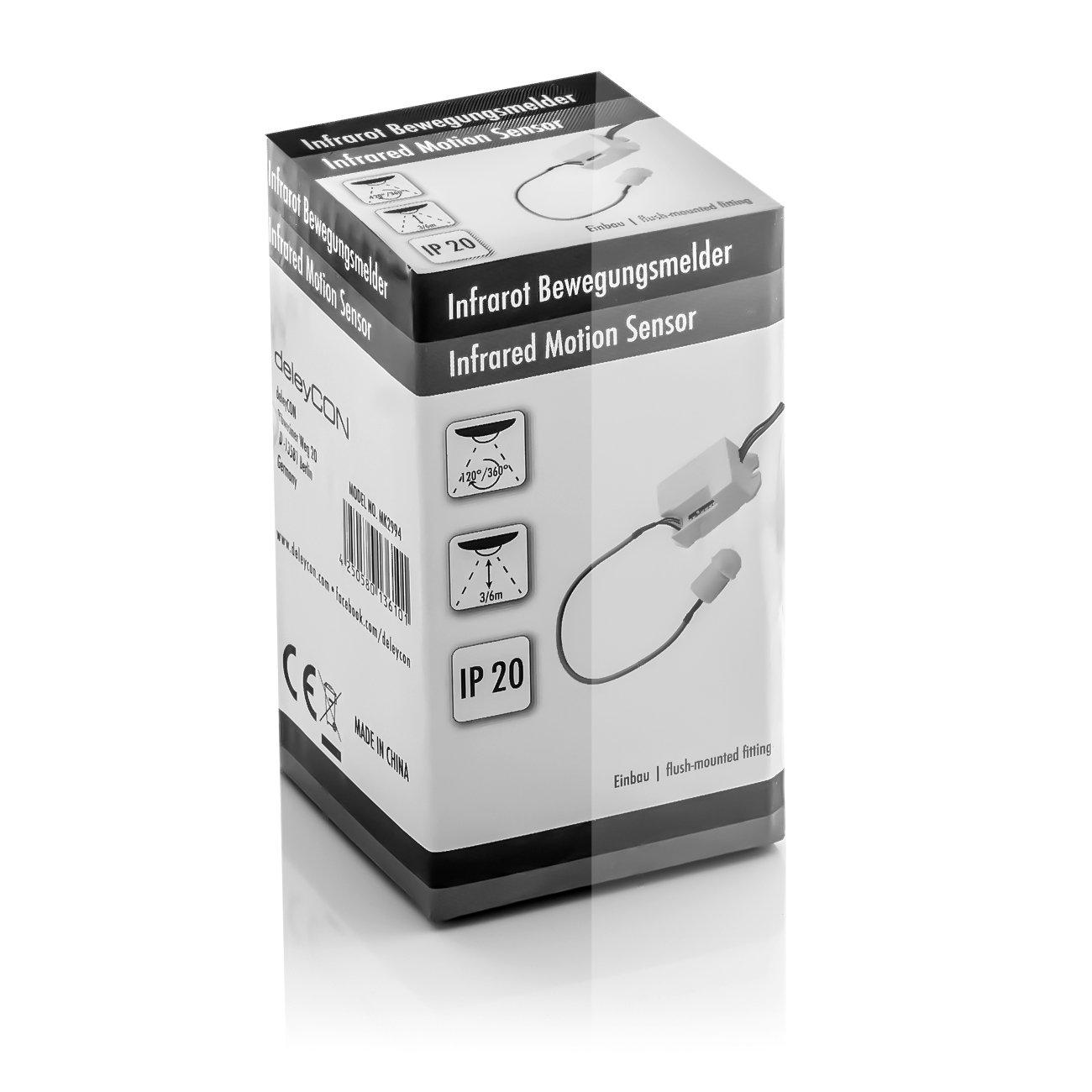deleyCON Miniatura Infrarrojos Detector de Movimiento En el Interior Alcance 6m a 360/° La Construcci/ón m/ás Peque/ña Casi Invisible IP20 Montaje Empotrado Blanco
