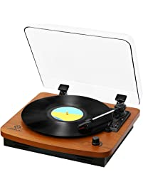 JORLAI 3 Speed Wooden Retro Turntable Belt Driven LP Vinyl Record Player  With Built