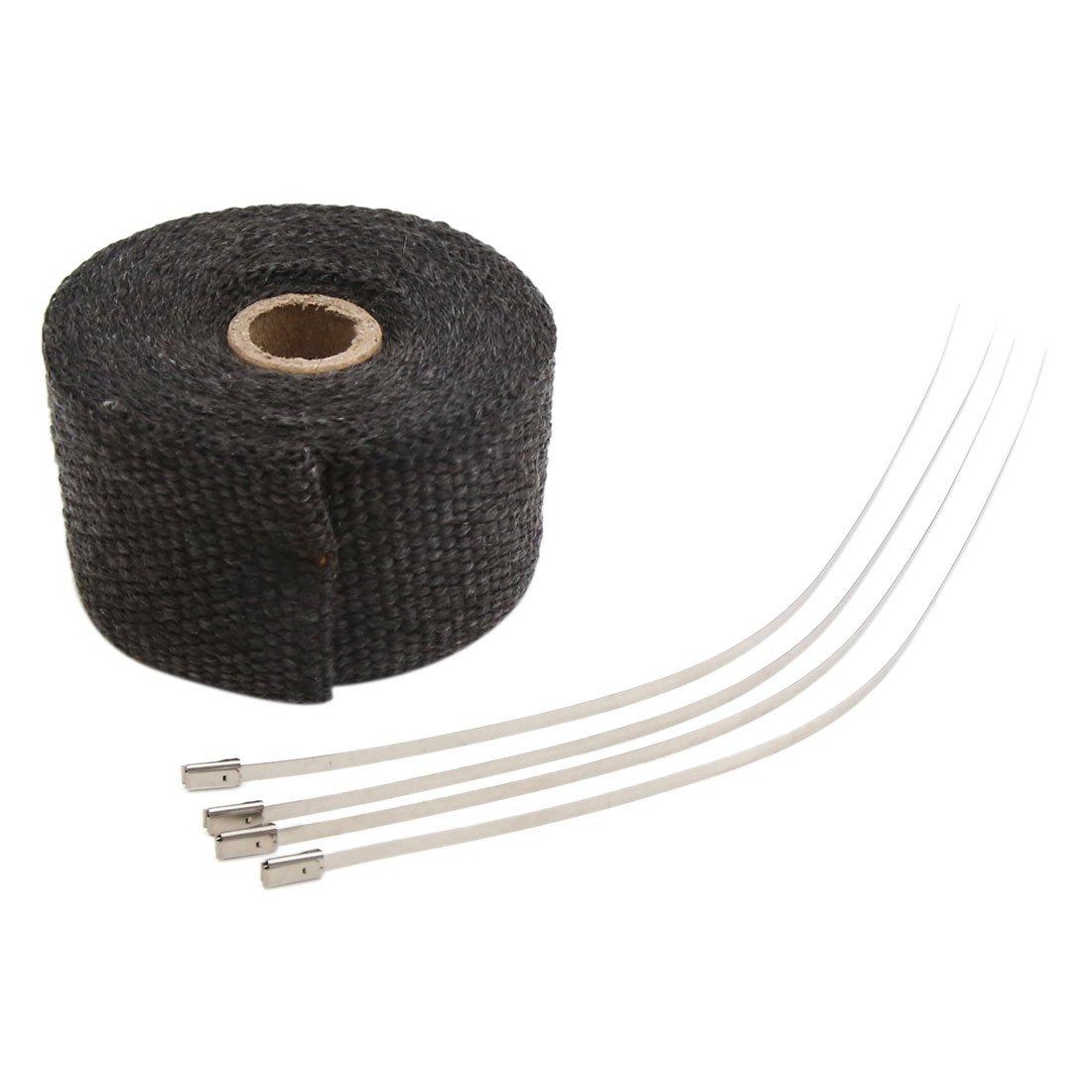 Amazon com: uxcell Black Fiberglass Exhaust Pipe Wrap Tape