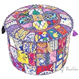 Eyes of India - 17 X 12 Small Blue Patchwork Round Pouffe Ottoman Cover Floor Seating Boho Bohemian Indian