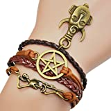 Amazon Price History for:Ac Union ACUNION™ Handmade Heart Love Cross Swallow Kiss Birds Owls Wings Rudder Charm for Friendship Gift - Fashion Personalized Leather Bracelet