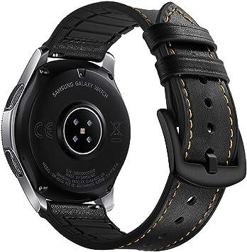 Myada para Correas Galaxy Watch 46mm, Correa Samsung Gear S3 Frontier Cuero, Correas Samsung Gear S3 Classic 22mm Reemplazo de Pulseras de Repuesto de Hebilla Acero Inoxidable Strap: Amazon.es: Electrónica