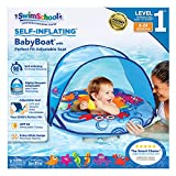 SwimSchool Self-Inflating, Unsinkable, Fabric Baby Boat, Zip-Off Retractable Canopy, UPF50, Adjustable Seat, Pool Float, 6 to 24 Months, Blue