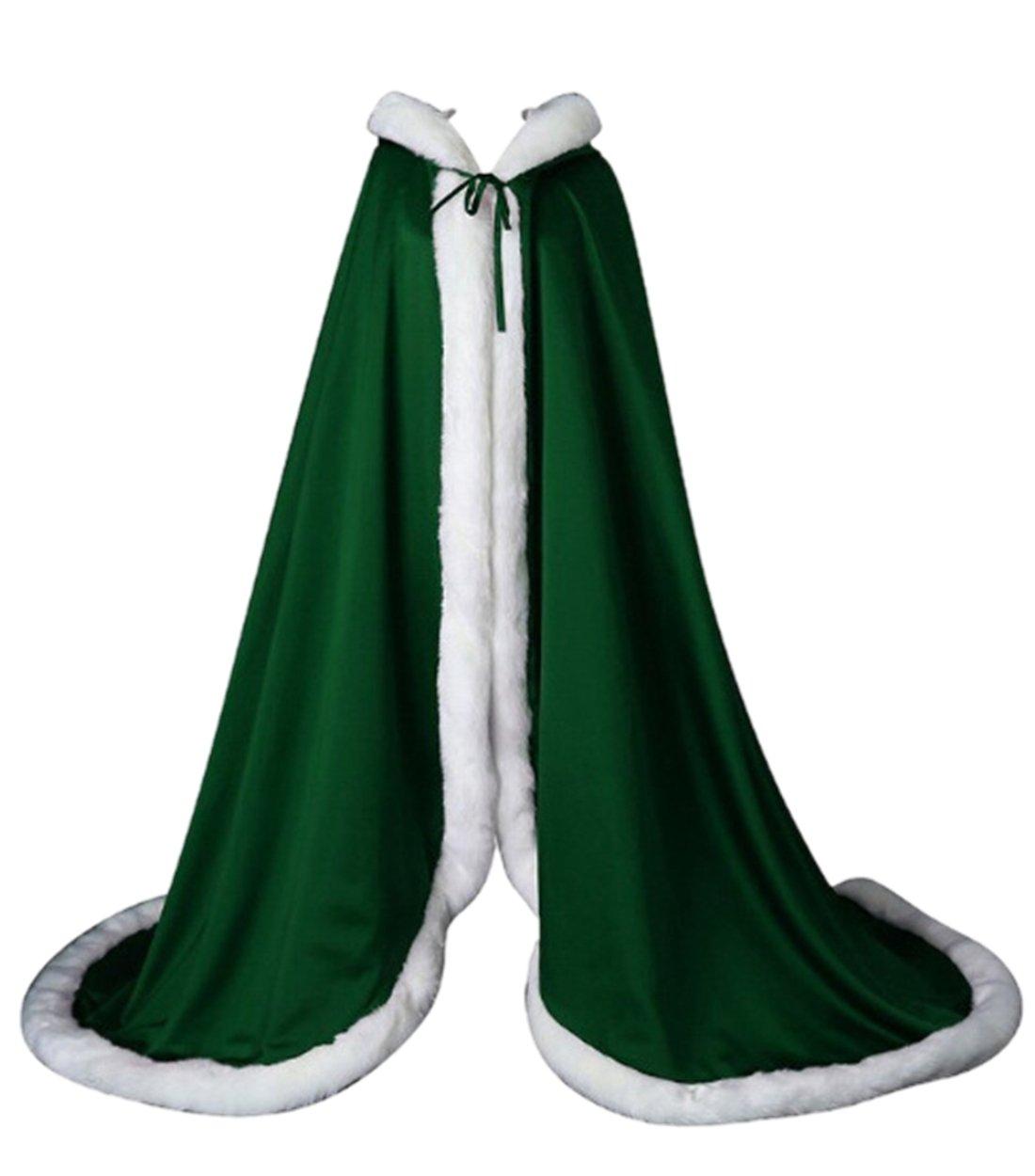 APXPF Women's Wedding Cape Bridal Cloak Long Faux Fur Cloak with Hood Outerwear Cloak Green