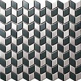 Silver Black Modern Kitchen Backsplash, Brushed Subway Metal Wall Tile,Diamond Shape Design Sticker- SA018(11PCS 10.76Sq.ft)