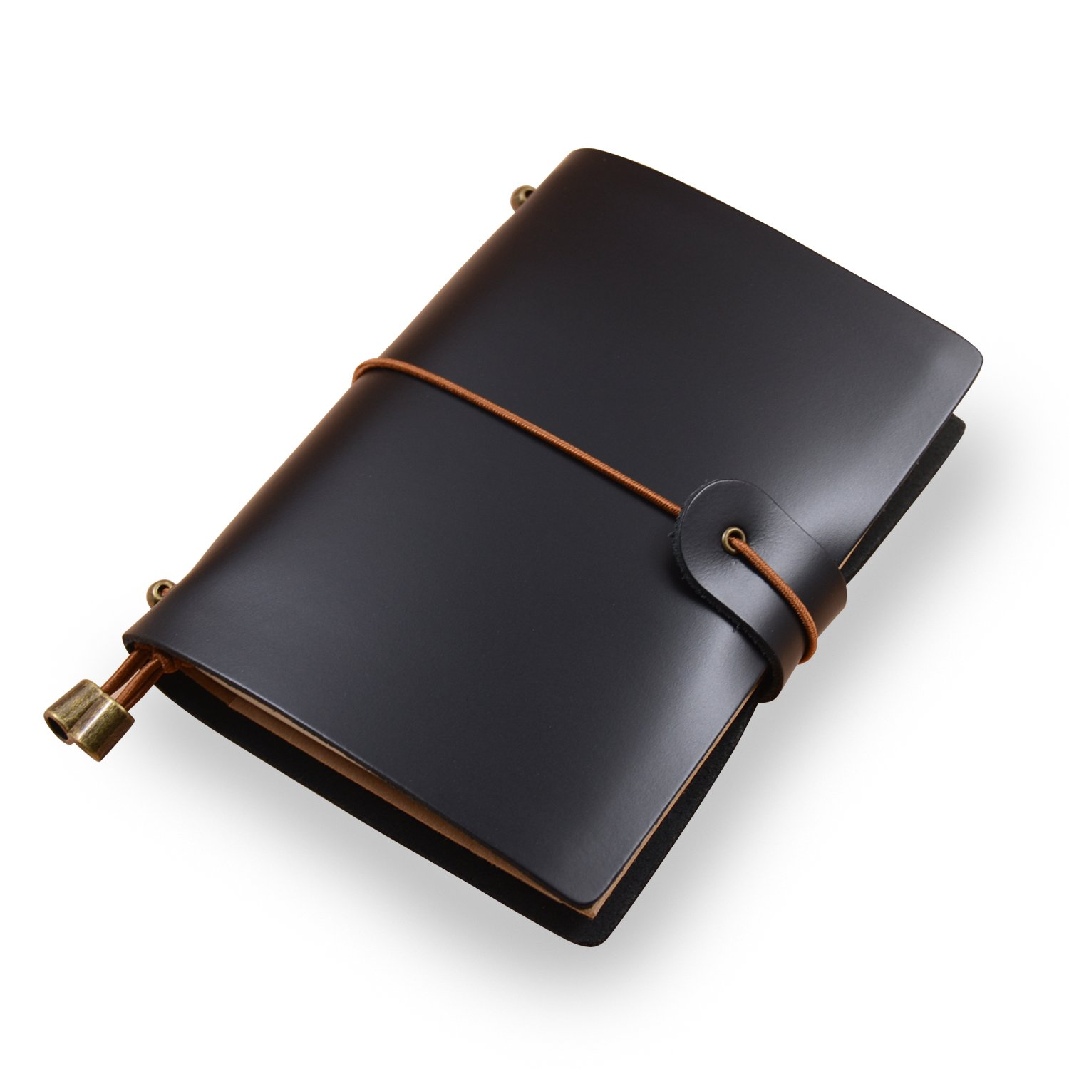 Classic Genuine Leather Soft Cover Notebook,Refillable Pages Leather Journal for Gifts,Diary,Handmade Personalized Traveler's Notebook(Passport Size) (Glossy Black)