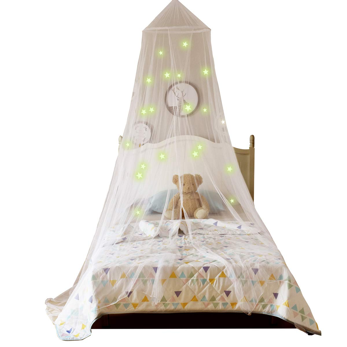 A LOVE BRAND Glowing Mosquito Net Dome Bed Canopy with Stars,for Kids Playing Reading Bedroom Decor