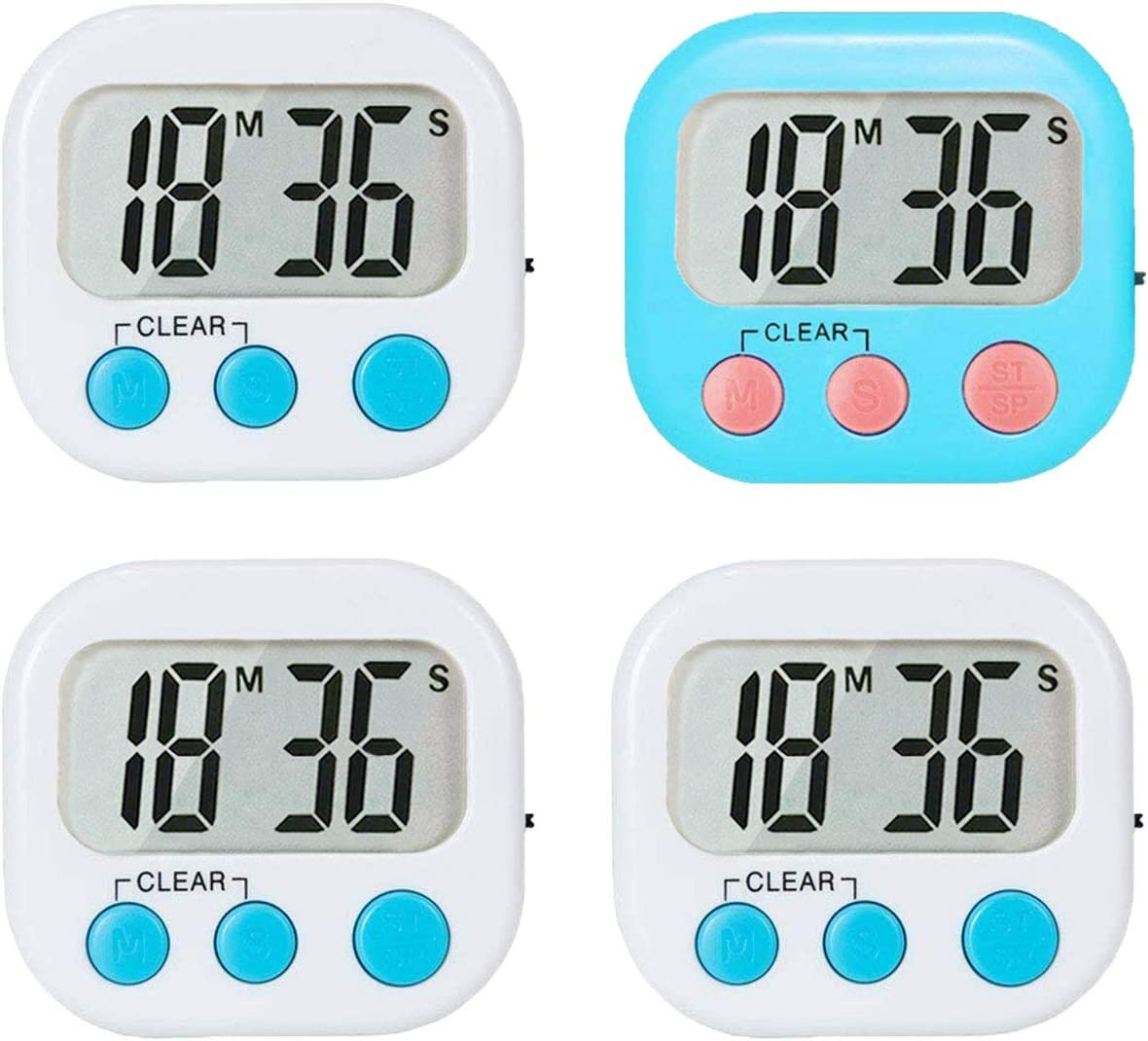 4 Pack Kitchen Timers Digital Timer for Kids Teachers Classroom Magnetic Backing Large Display Count Up and Count Down