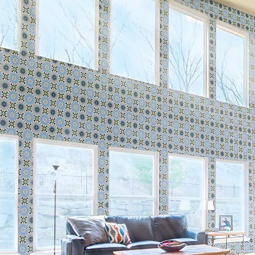 Mosaic Green Flooring - Moroccan Mosaic & Tile House CTP54-06 Alhambra 8''x8'' Handmade Cement Tile, Green Sky Blue/Black