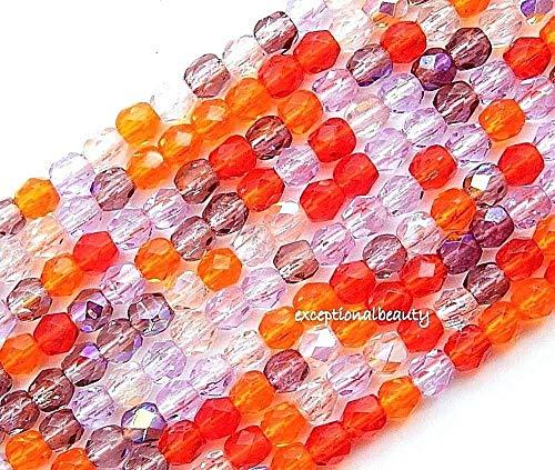 100 Melonberry Mix Preciosa Fire Polished Czech Glass 3mm Spacer Beads