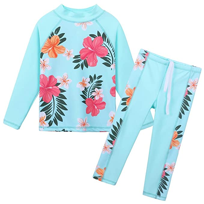 493d6febb5 BAOHULU Girls Two Piece Swimsuit Floral UPF 51+ Rash Guard Set Kids Swimwear  S247_CyanFlower_4A