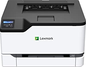 Lexmark C3224dw Color Laser Printer with Wireless capabilities, Standard Two Sided printing, Two Line LCD Screen with Full-Spectrum Security and Prints Up To 24 ppm (40N9000),White, Gray