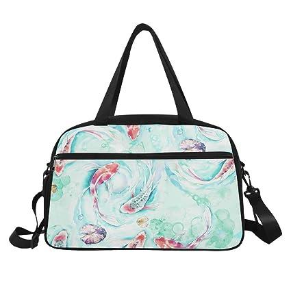 ... Amazon.com InterestPrint Koi Fish Watercolor Duffel Bag Travel Tote Bag  Handbag Luggage Travel Duffels ... d88a16df350