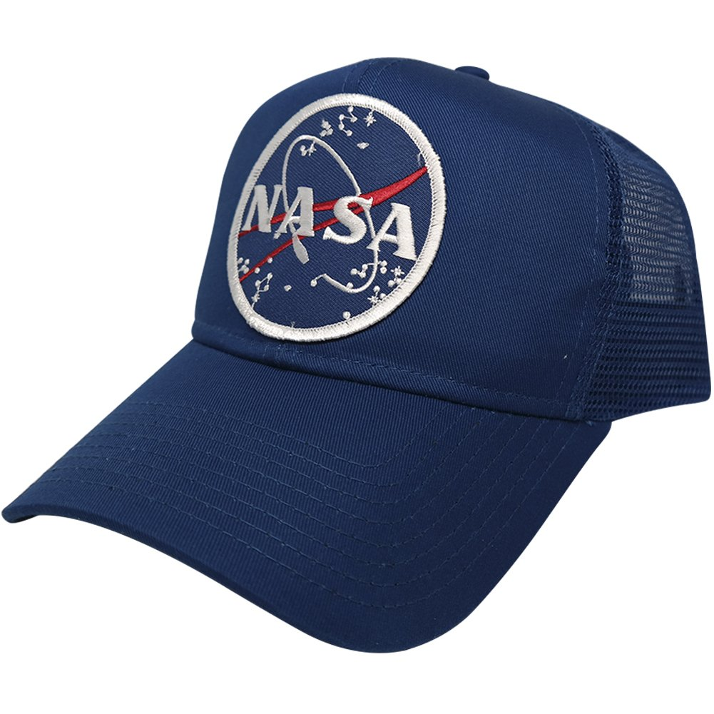 d04e13014134f Amazon.com  NASA Space Logo Embroidered Iron On Patch Snapback Cap - Mesh  Back - Royal  Clothing