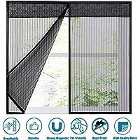 """GettyGears - Cortina mosquitero magnética para ventana, con imanes, marco completo para puerta, para ventanas, sin perforaciones, con cinta de velcro, 46""""x46""""Inch, Negro"""