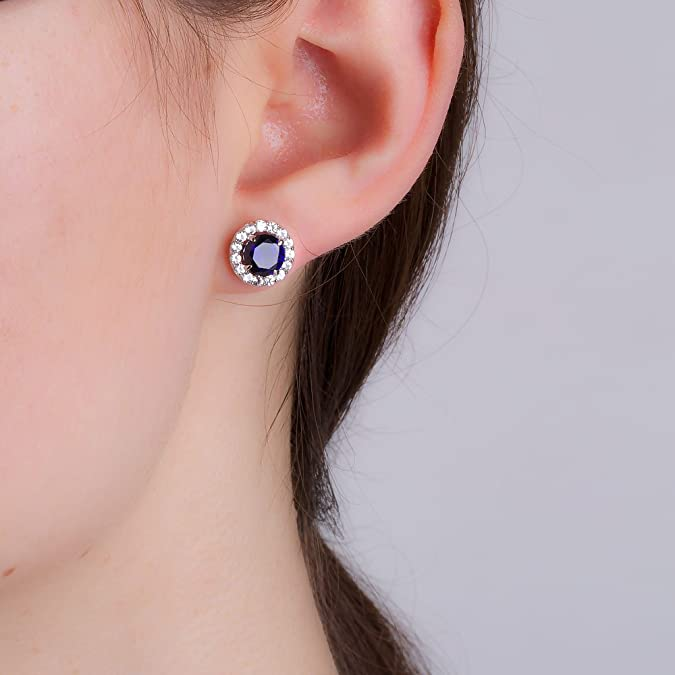 Stardust 2.7ct Sapphire and Diamond Halo Silver Stud Earrings (WHITE GOLD) bHLYj1S5yj