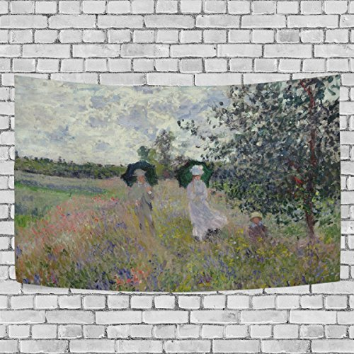 (WIHVE Large Tapestry Monet's The Promenade Near Argenteuil Tapestry Wall Hanging Art Home Decor for Living Room Bedroom Bathroom Kitchen Dorm 90 x 60 Inches)