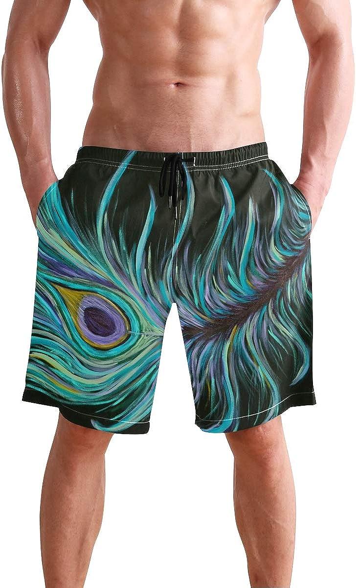 DEYYA Mens Peacock Feather Painting Swim Trunks Beachwear Summer Holiday Beach Shorts Quick Dry