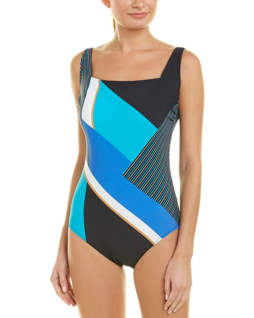 c7a61a55876 Gottex Women's Maritime One Piece Wide Strap Tank Swimsuit Multi Blue 14 at  Amazon Women's Clothing store: