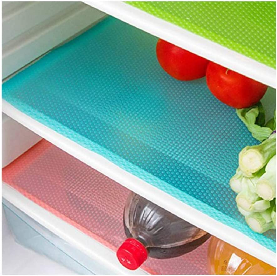 E-lishine Multifunctional Refrigerator Pads Non-Slip Moisture Absorption Pad Washable Can Be Cut Refrigerator Mats,Set of 4 (Blue)