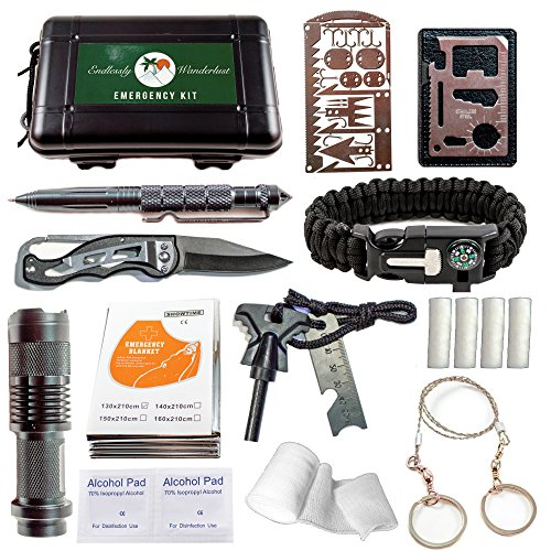 Emergency Survival Kit - 35 PCS Outdoor Gear and Survival Tools for Everyday Carry, Backpacking, Camping Essentials & Hiking. Prepper Supplies, Bushcraft & Bug Out Gear. Best Preparedness & EDC Supply (Survivor Dry Box)