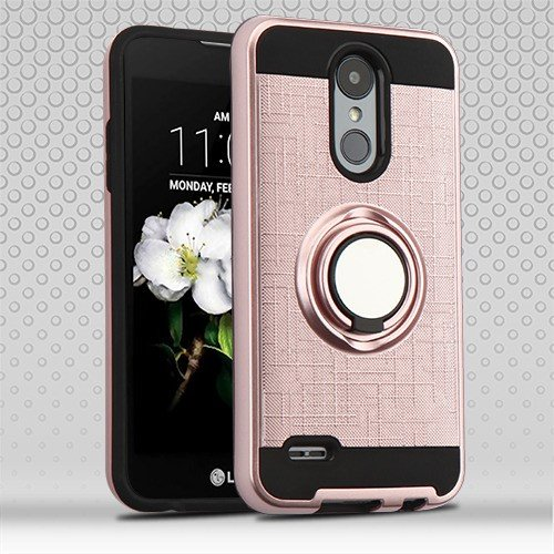 Phonelicious Ring Case for LG K30 / LG PREMIER PRO 4G LTE Cover Dual Layer Protection built in Finger Ring Holder Kickstand Fit Magnetic Car mount L413DL L413DG (Rose gold) (Premier Mounts Pcs)