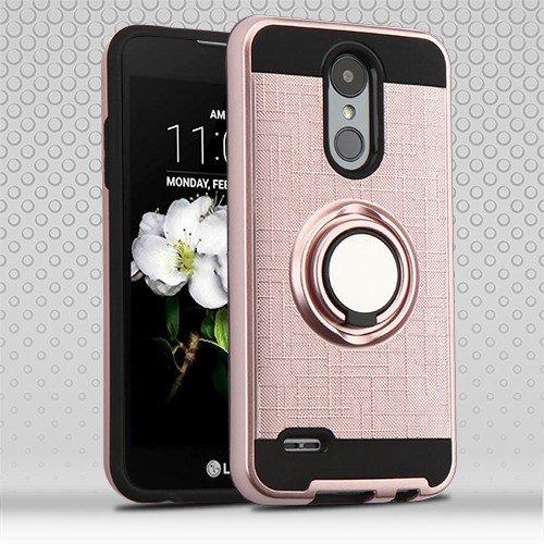 Phonelicious Ring Case for LG K30 / LG PREMIER PRO 4G LTE Cover Dual Layer Protection built in Finger Ring Holder Kickstand Fit Magnetic Car mount L413DL L413DG (Rose gold) (Mounts Pcs Premier)