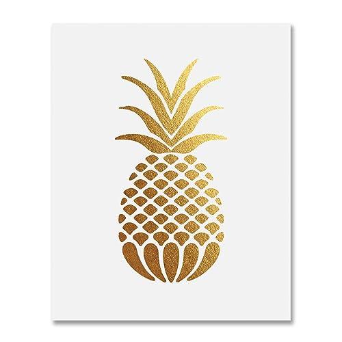 Pineapple gold foil art print small poster tropical chic metallic poster modern wall art gold decor